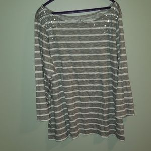 NWOT boatneck,  grey/white striped shirt